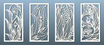 Free Laser Cut Panel Template, Anstract Floral Pattern. Stencil For Wood Or Metal Cutting, Carving, Paper Art, Fretwork Stock Image - 162980771