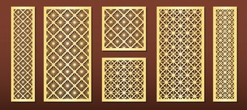 Free Laser Cut Panels, Vector Set For Wood Or Metal Decor, Arabic Geometric Pattern Royalty Free Stock Image - 156994326