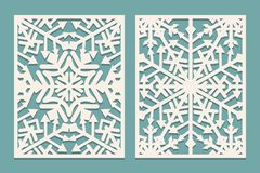 Laser Cut Panels With Snowflakes Pattern For Christmas Paper Cards, Design Elements, Scrapbooking Stock Images