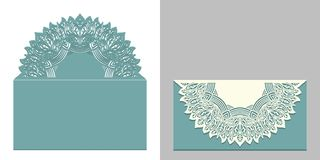 Free Laser Cut Paper Lace Envelope With Mandala Element. Cutting Template For Wedding Invitation Or Card Designs. Royalty Free Stock Image - 123998336