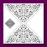 Laser cut pattern. Vector template of invitation envelope with decoration of flourish swirl oriental ornament Royalty Free Stock Photography