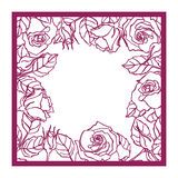 Laser cut  rose square frame. Cutout pattern silhouette wi Royalty Free Stock Image