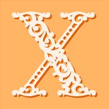 Laser Cut Template. Initial Monogram Letters. Fancy Floral Alphabet Letter. Royalty Free Stock Photography