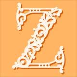 Laser Cut Template. Initial Monogram Letters. Fancy Floral Alphabet Letter. Stock Photo