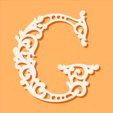Laser cut template. Initial monogram letters. Fancy floral alphabet letter. royalty free illustration