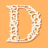 Laser cut template. Initial monogram letters. Fancy floral alphabet letter. stock illustration