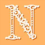 Laser cut template. Initial monogram letters. Fancy floral alphabet letter. May be used for paper cutting. Floral wooden alphabet font letter. Filigree cutout royalty free illustration