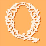 Laser cut template. Initial monogram letters. Fancy floral alphabet letter. May be used for paper cutting. Floral wooden alphabet font letter. Filigree cutout vector illustration