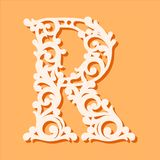 Laser cut template. Initial monogram letters. Fancy floral alphabet letter. May be used for paper cutting. Floral wooden alphabet font letter. Filigree cutout stock illustration
