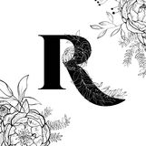 Flower alphabet letter R pattern royalty free illustration