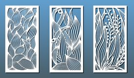 Free Laser Cut Templates, Set Of Panels With Floral Pattern. Vector Stock Photography - 172126492