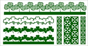 Laser cut vector border cut shamrock. Perfect for St. Patrick`s. Day decoration. Stylized irish clover pattern. Holiday decor Laser Cut-out - ribbon of clover vector illustration