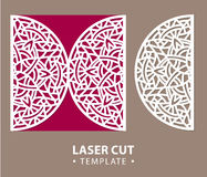 Laser cut vector card temlate with mandala ornament. Cutout circle pattern silhouette. Die cut Royalty Free Stock Image