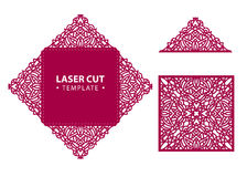 Laser cut vector envelope card temlate with abstract ornament. C. Utout pattern silhouette. Die cut paper element for wedding invitations, save the date stock illustration