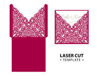 Laser cut vector envelope card template with abstract ornament.  Stock Photo