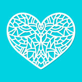 Laser cut vector heart ornament. Cutout pattern silhouette with abstract shapes. Die cut element Stock Photography