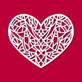 Laser cut vector heart ornament. Cutout pattern silhouette with abstract shapes. Die cut element Stock Photo