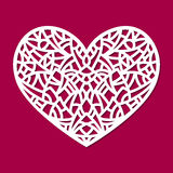 Laser cut vector heart ornament. Cutout pattern silhouette with abstract shapes. Die cut element. For wedding invitations, save the date, greeting card. Cutting vector illustration