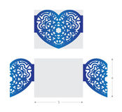 Laser cut wedding card, flower ornament in heart shape royalty free illustration