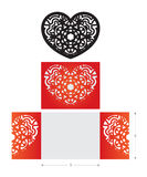Laser cut wedding card, flower ornament in heart shape Royalty Free Stock Images