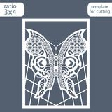 Laser cut wedding invitation card template. Cut out a paper card with a butterfly pattern.  Greeting card template for cutting plo Royalty Free Stock Image