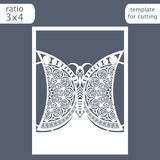 Laser cut wedding invitation card template. Cut out a paper card with a butterfly pattern.   Royalty Free Stock Images
