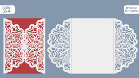 Laser cut wedding invitation card template.  Cut out the paper card with lace pattern.  Greeting card template for cutting plotter. Vector Stock Image