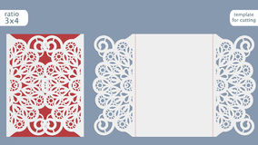 Laser cut wedding invitation card template. Cut out the paper card with lace pattern. Greeting card template for cutting plotter vector illustration