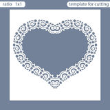 Laser cut wedding invitation card template.  Cut out the paper card with lace pattern.  Greeting card template for cutting plotter Royalty Free Stock Photography