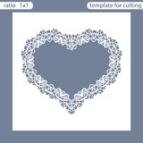 Laser cut wedding invitation card template. Cut out the paper card with lace pattern. Greeting card template for cutting plotter royalty free illustration