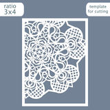 Laser cut wedding invitation card template.  Cut out the paper card with lace pattern.  Greeting card template for cutting plotter. Congratulation to Christmas Royalty Free Stock Image