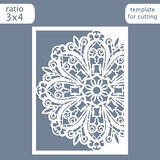 Laser cut wedding invitation card template.  Cut out the paper card with lace pattern.  Greeting card template for cutting plotter Royalty Free Stock Image