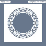 Laser cut wedding invitation card template. Cut out the paper card with lace pattern. Greeting card template for cutting plotter. Photo frame are laser cut royalty free illustration