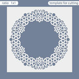 Laser cut wedding invitation card template. Cut out the paper card with lace pattern. royalty free illustration