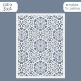 Laser cut wedding invitation card template.  Cut out the paper card with lace pattern.  Stock Image