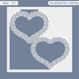 Laser cut wedding invitation card template.  Cut out the paper card with lace pattern.. Greeting card template for cutting plotter. Frame in the shape of a Royalty Free Stock Photo