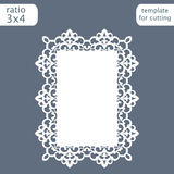 Laser cut wedding invitation card template with openwork border.  Cut out the paper card with lace pattern.  Greeting card templat. E for cutting plotter. Vector Stock Image