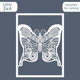 Laser cut wedding invitation card template. Cut out a paper card with a butterfly pattern.  Greeting card template for cutting plo Royalty Free Stock Images
