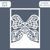 Laser cut wedding invitation card template. Cut out a paper card with a butterfly pattern.  Royalty Free Stock Image