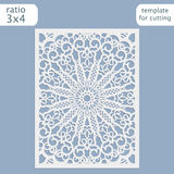 Laser cut wedding invitation card template vector.  Cut out the paper card with lace pattern.  Greeting card template for cutting Royalty Free Stock Image