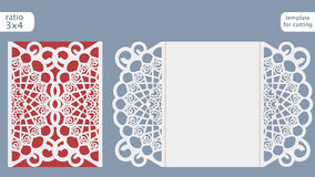 Laser cut wedding invitation card template vector. Die cut paper card with abstract pattern. Cutout paper gate fold card for laser cutting or die cutting Royalty Free Stock Photo
