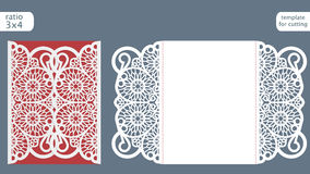 Laser cut wedding invitation card template vector. Die cut paper card with abstract pattern. Cutout paper gate fold card for laser cutting or die cutting Stock Photos