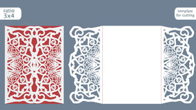 Laser cut wedding invitation card template vector. Die cut paper card with abstract pattern. Cutout paper gate fold card for laser cutting or die cutting Stock Image