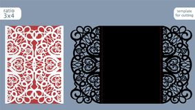 Laser cut wedding invitation card template vector. Die cut paper card with abstract pattern. Cutout paper gate fold card for laser Stock Image