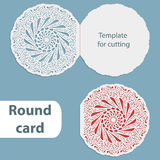 Laser cut wedding round card template, paper openwork greeting card, template for cutting, lace invitation, card for Christmas and Stock Photos