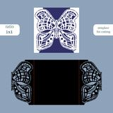 Laser cut wedding square card template. Cut out the paper card with butterfly pattern. Greeting card template for cutting plotter. Royalty Free Stock Photography