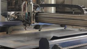 The laser cuts the metal. Industrial equipment for metal cutting. Machine with a laser stock footage