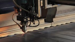 The laser cuts the metal. Industrial equipment for metal cutting. Machine with a laser stock video