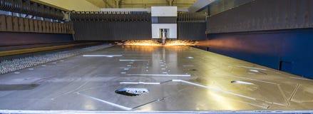 Laser cutter cutting half inch steel - panorama Stock Photo