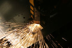 Laser cutting. Lasercutting close-up from metalwork industry Royalty Free Stock Image